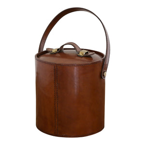 Winston Leather Ice Bucket W/ Tongs
