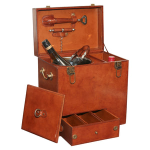 Winston Leather Mini Bar W/ Bar Tools