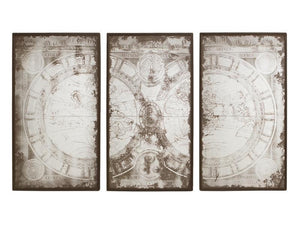 3 Panel Antique Mirrored World Map
