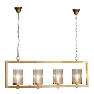 4 LIGHT BRASS IRON & GLASS PENDANT