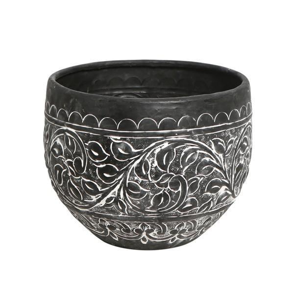 24Cm Embossed Black & White Planter