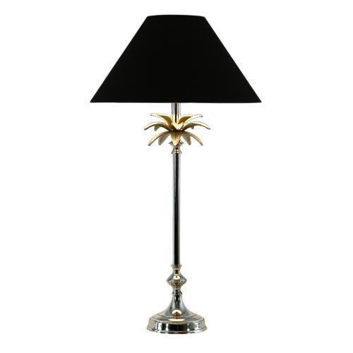 Nickel Palm Lamp 40Cm/16In Black Shade