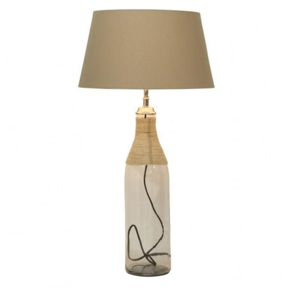 GLASS BOTTLE LAMP BASE W/ROPE DETAIL