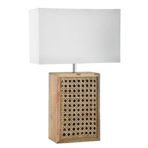 RATTAN WOODEN LAMP W/ WHITE SHADE