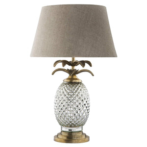 ANT GOLD GLASS PINE LAMP W/ NAT LINEN SH