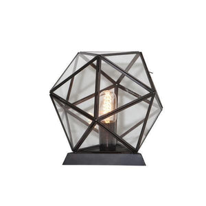 OCTAGONAL METAL AND GLASS TABLE LAMP