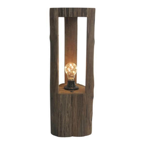 OAK LANTERN WITH LED GLOBE - LARGE