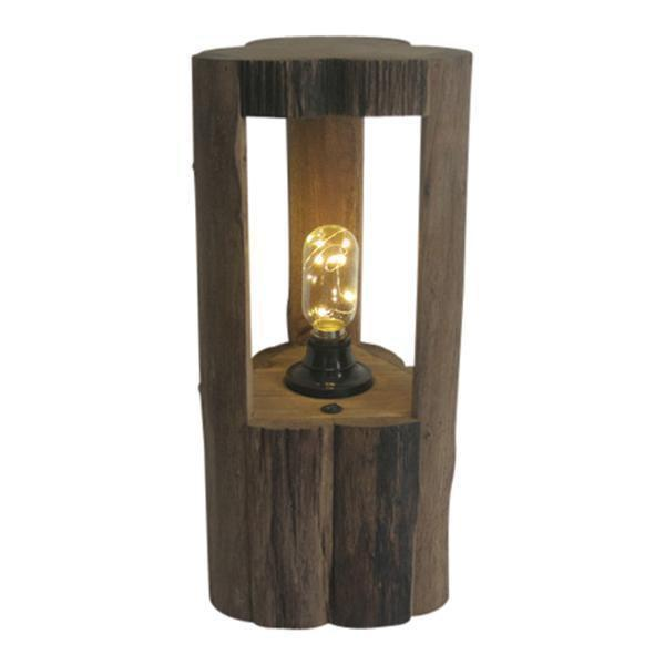 OAK LANTERN WITH LED GLOBE - MEDIUM