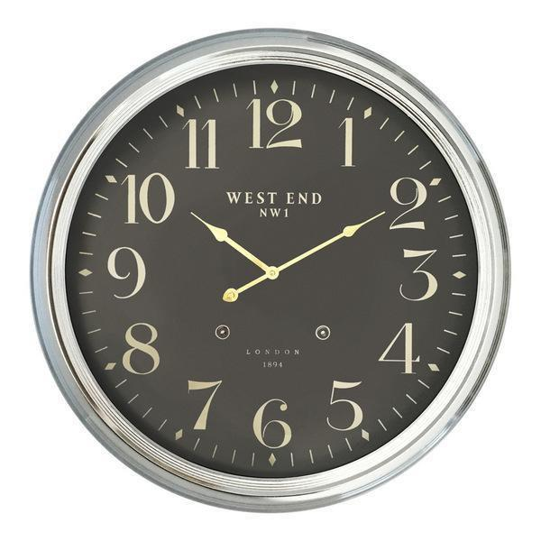 WEST END 63/25in NICKEL CLOCK W/BLK FAC