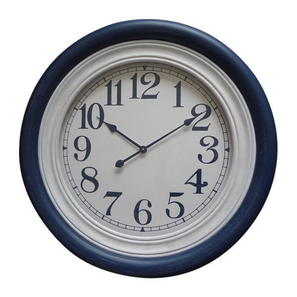 BLUE & WHITE TIMBER CLOCK 78CM