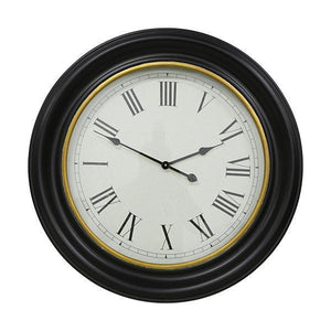 78CM BLACK WITH GOLD INNER RIM CLOCK