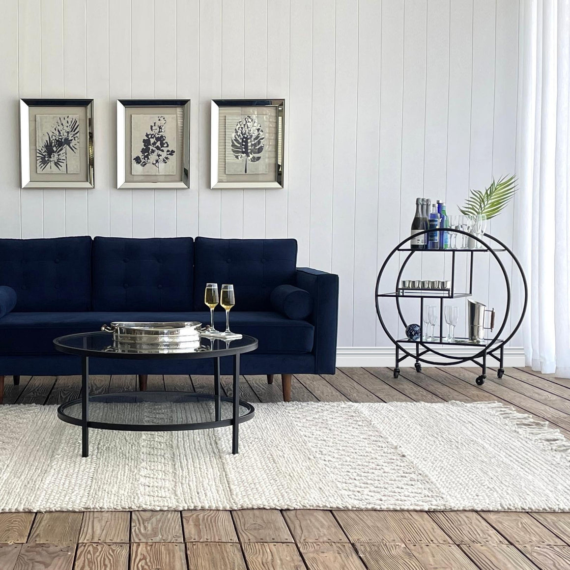 BLACK BAR TROLLEY MIRROR SHELVES