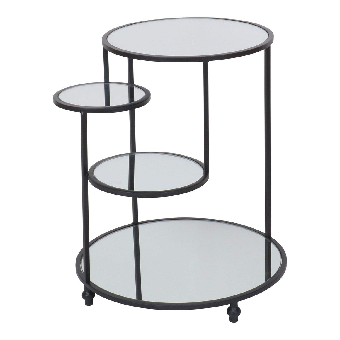 BLACK STEPPED 4 TIER SIDE TABLE