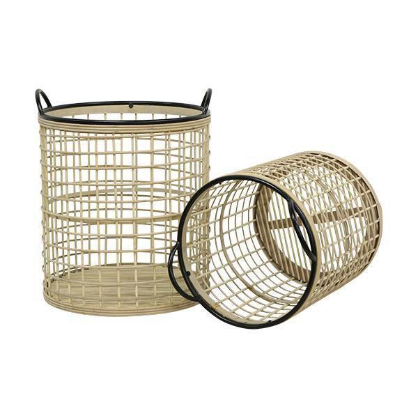 SET 2 NATURAL & BLACK ROUND BASKETS