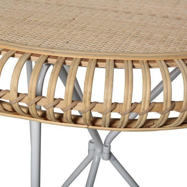 RATTAN SIDE TABLE WHITE HAIRPIN LEGS