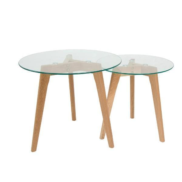 OSLO SET 2 OAK SIDE TABLE GLASS TOP