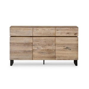 RUSTIC OAK 3 DOOR CONSOLE W/ 3 DRAWS