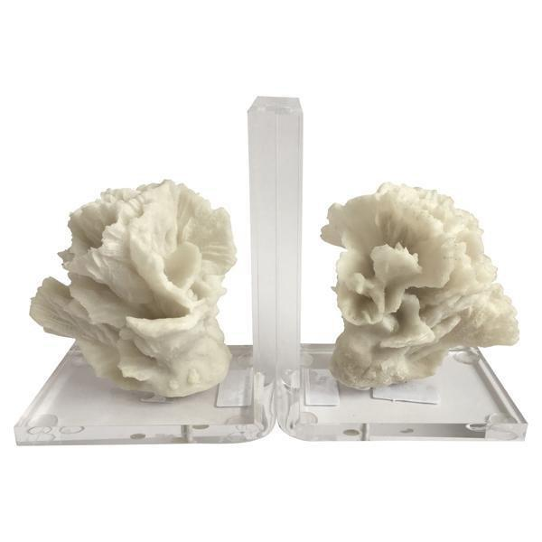 Pair Of White And Clear Coral Bookends