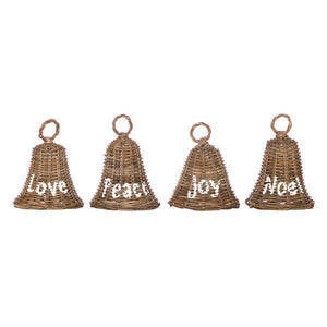 SET OF 4 ASSORT RATTAN CHRISTMAS BELLS