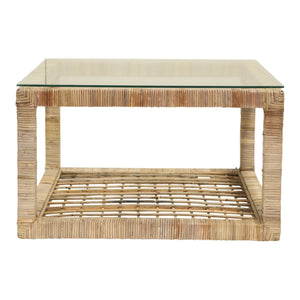 RATTAN COFFEE TABLE W/ GLASS TOP