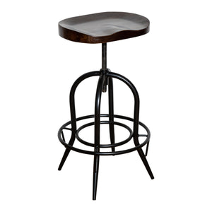 MOULDED DARK ELM WOOD BARSTOOL FOOTREST