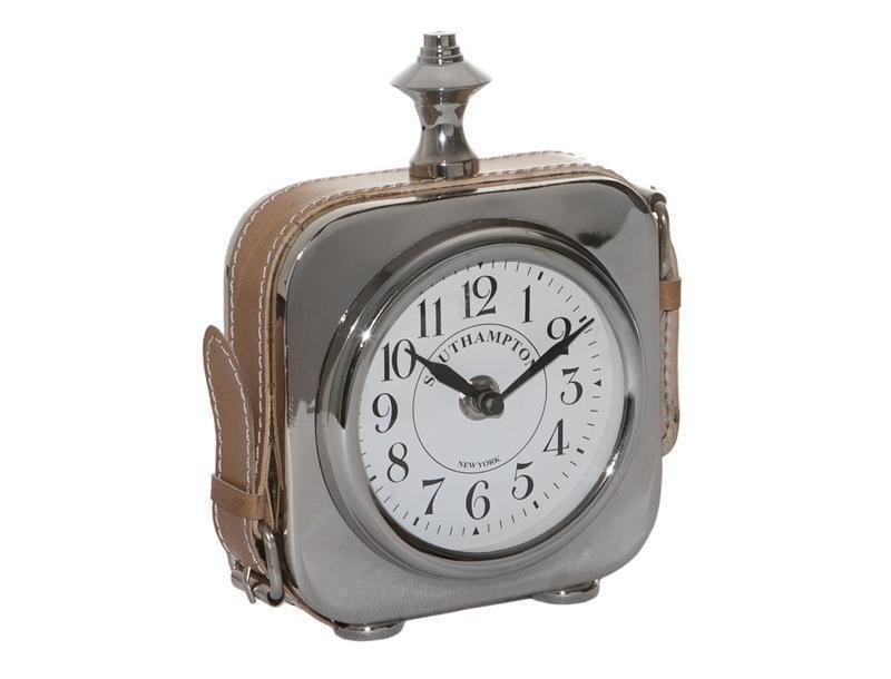 19CM NICKEL DESK CLOCK W/LEATHER STRAP