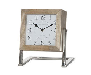 23CM SQUARE WOOD DESK CLOCK