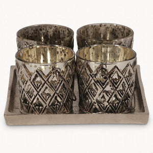 Set 4 Ant Silver Votives On Square Plate
