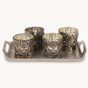 Set 4 Ant Silver Votives On Tray