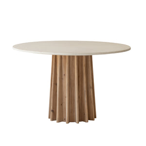 Bronte Dining Table with Concrete Top / Fluted Recycle Pine Base