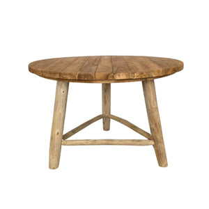 Elok Natural Teak Round Dining Table 120cm