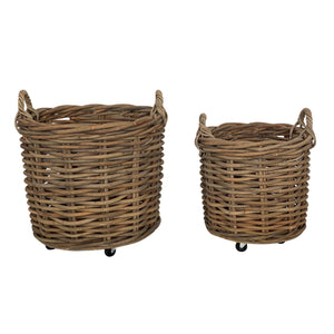 Cabo Set of 2 Rattan Round Baskets with Wheels