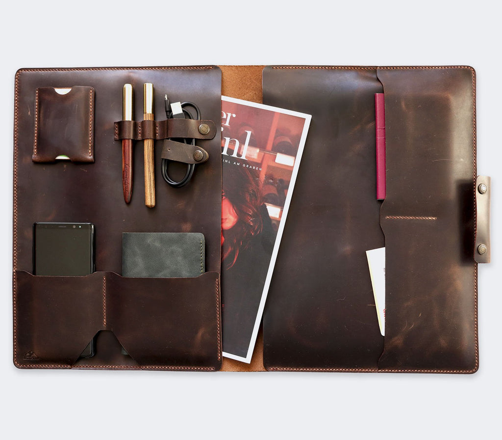 Leather iPad Organizer - Brown