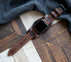 (NEW) Custom Made Apple Watch Bund Strap - Antique Brown
