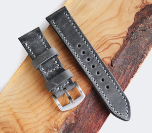 Custom Made Leather Watch Strap - Antique Gray