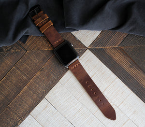 Apple Watch Leather Strap - Antique Brown