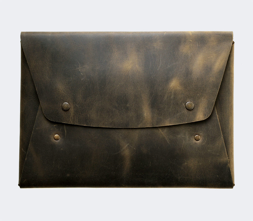 Leather Macbook Case - Green