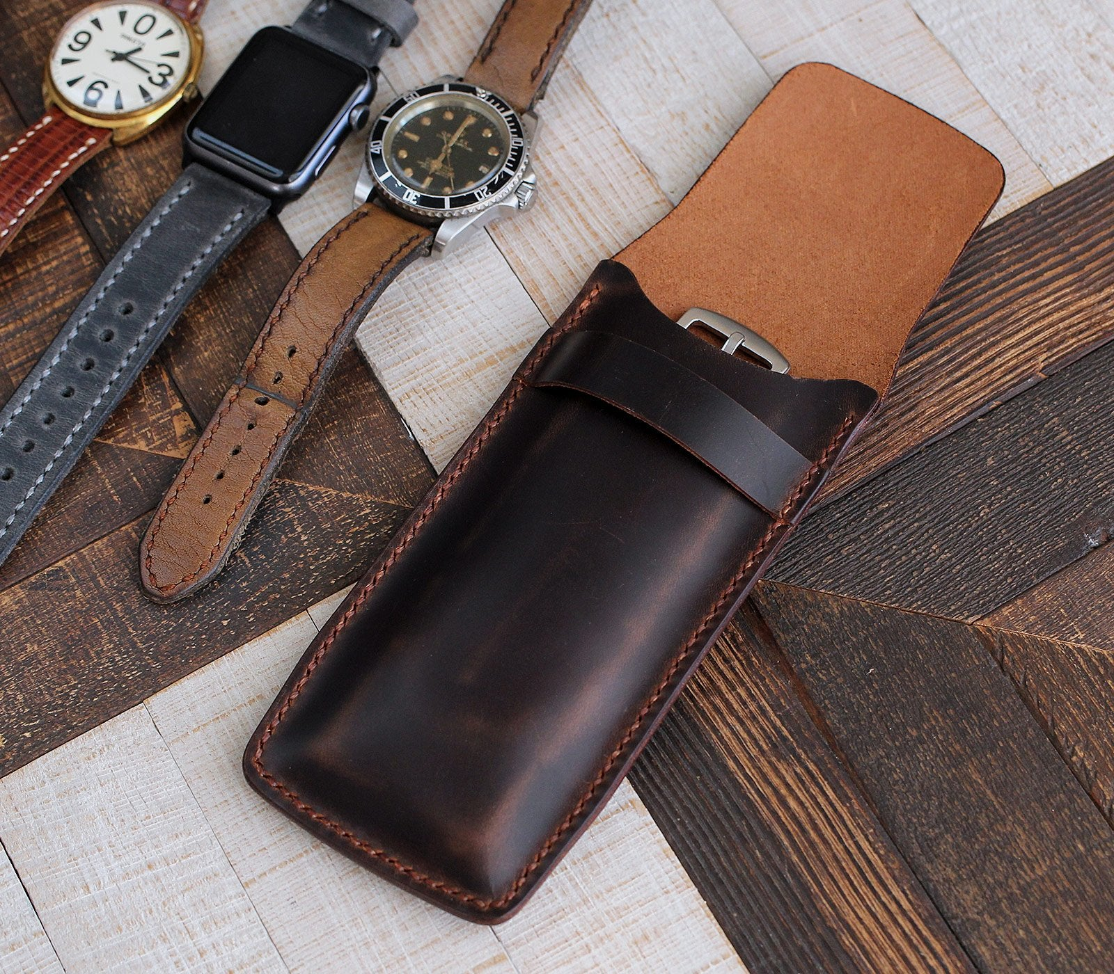 (NEW) Handmade Flap Covered Leather Watch Case