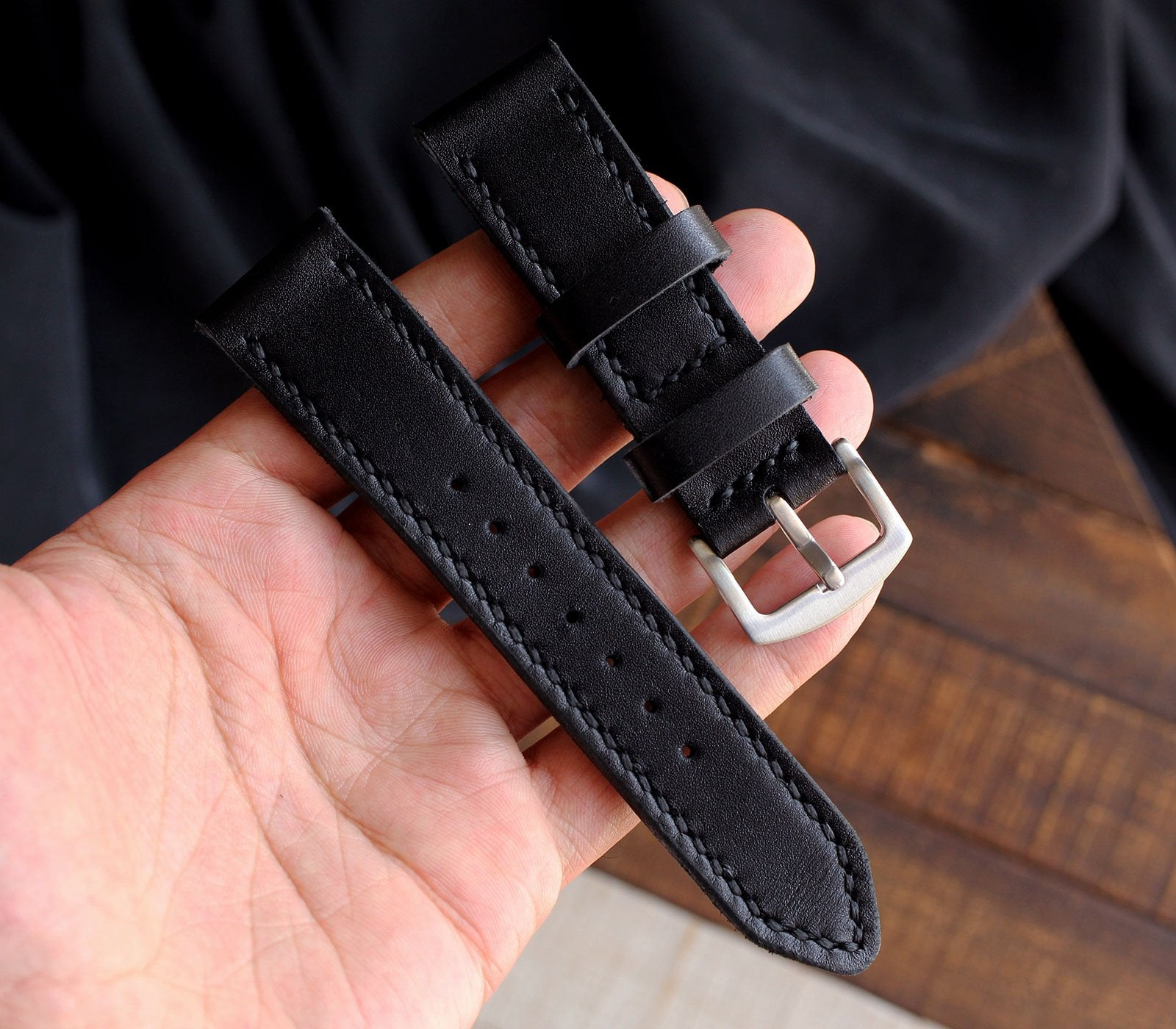 Custom Made Leather Watch Strap - Black