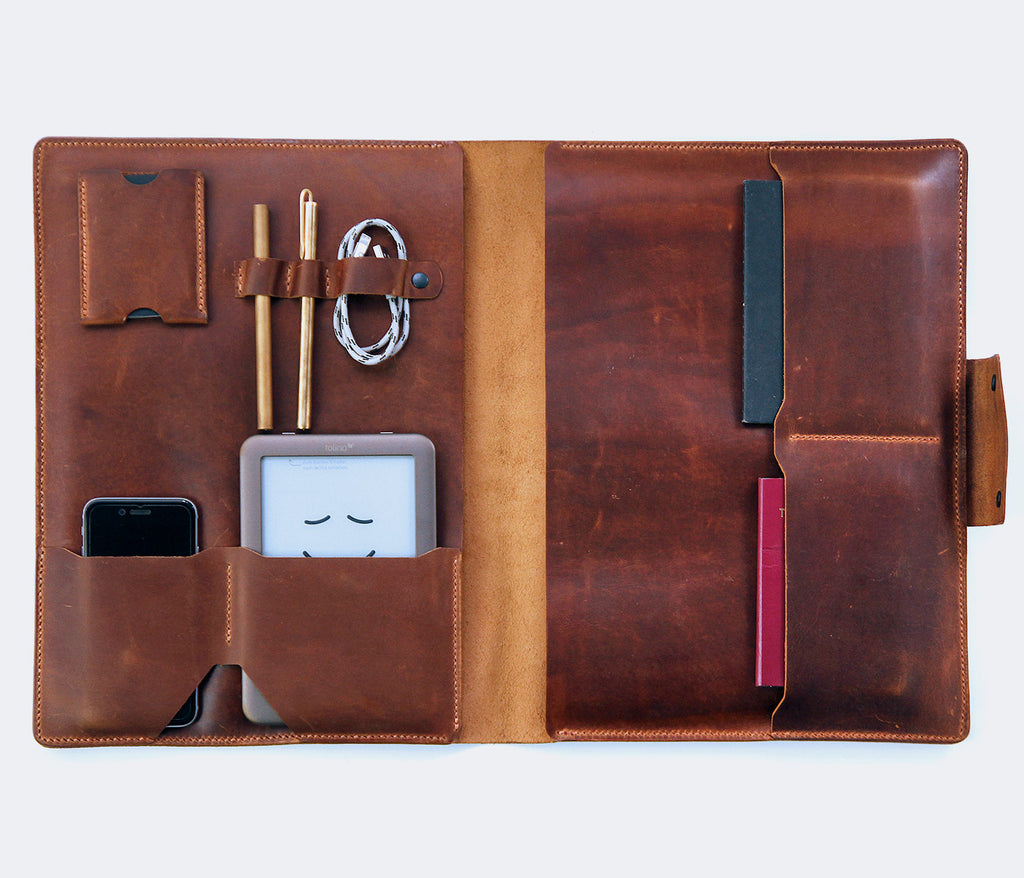 (NEW) Leather Macbook Organizer - Walnut by Roarcraft