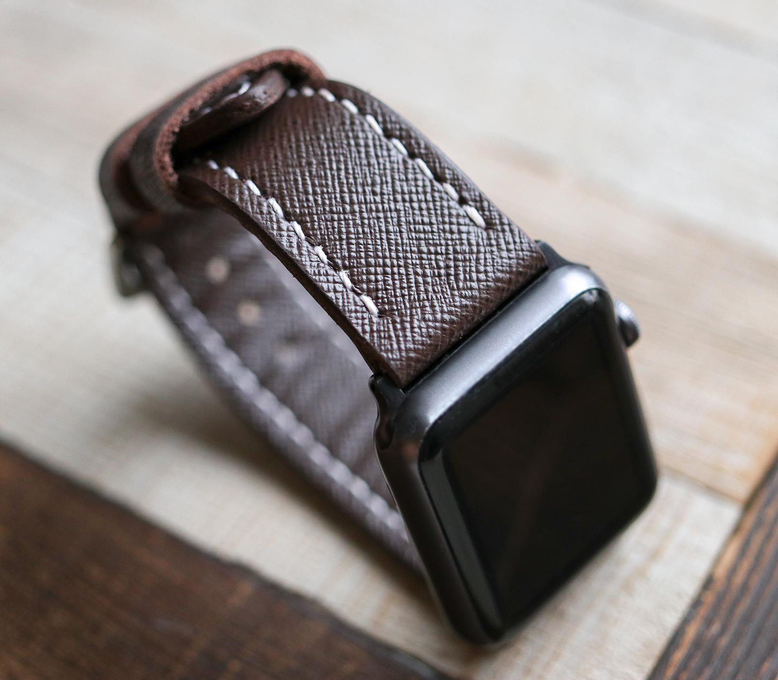 Custom Made Apple Watch Strap - Bitter Saffiano