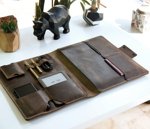 (NEW) Leather Macbook Organizer - Coffee by Roarcraft