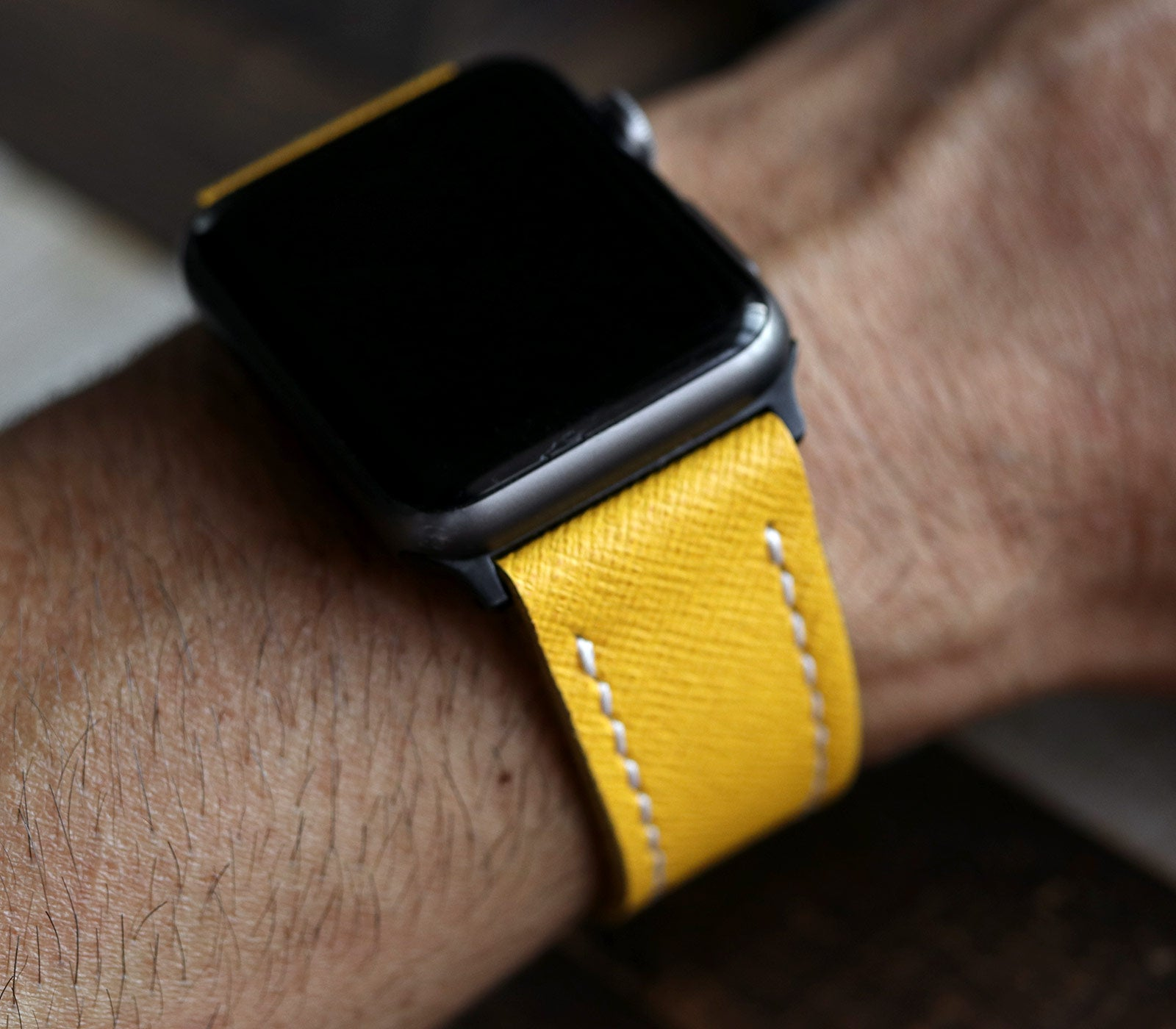 Custom Made Apple Watch Strap - Lemon Saffiano