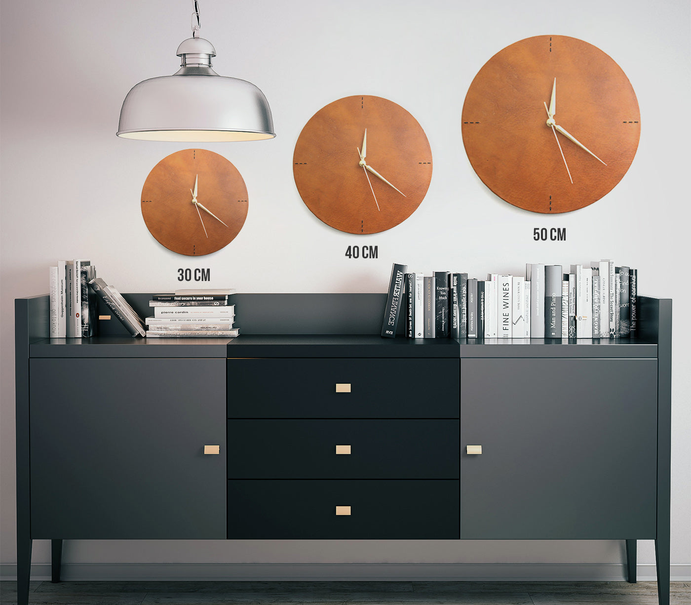 Leather Wall Clock - Letoon Cognac