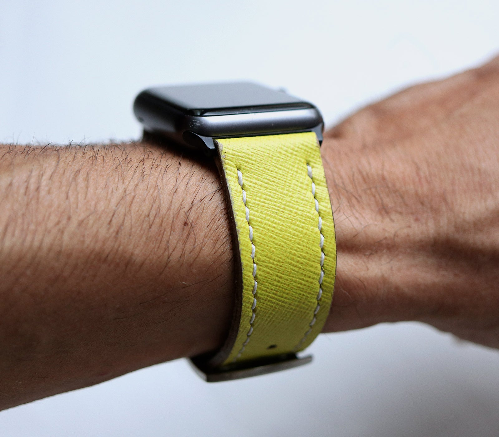 Custom Made Apple Watch Strap - Lime Saffiano