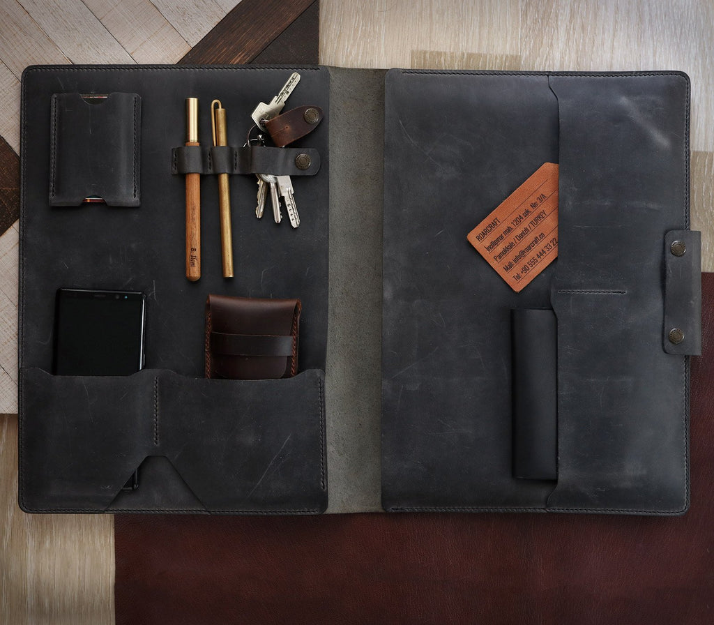 Leather iPad Organizer - Gray