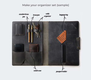 Leather Macbook Organizer - Gray