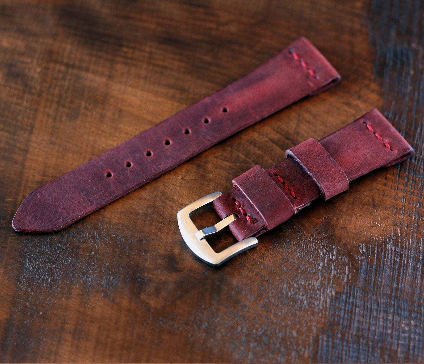 Apple Watch Leather Strap - Antique Burgundy by Roarcraft