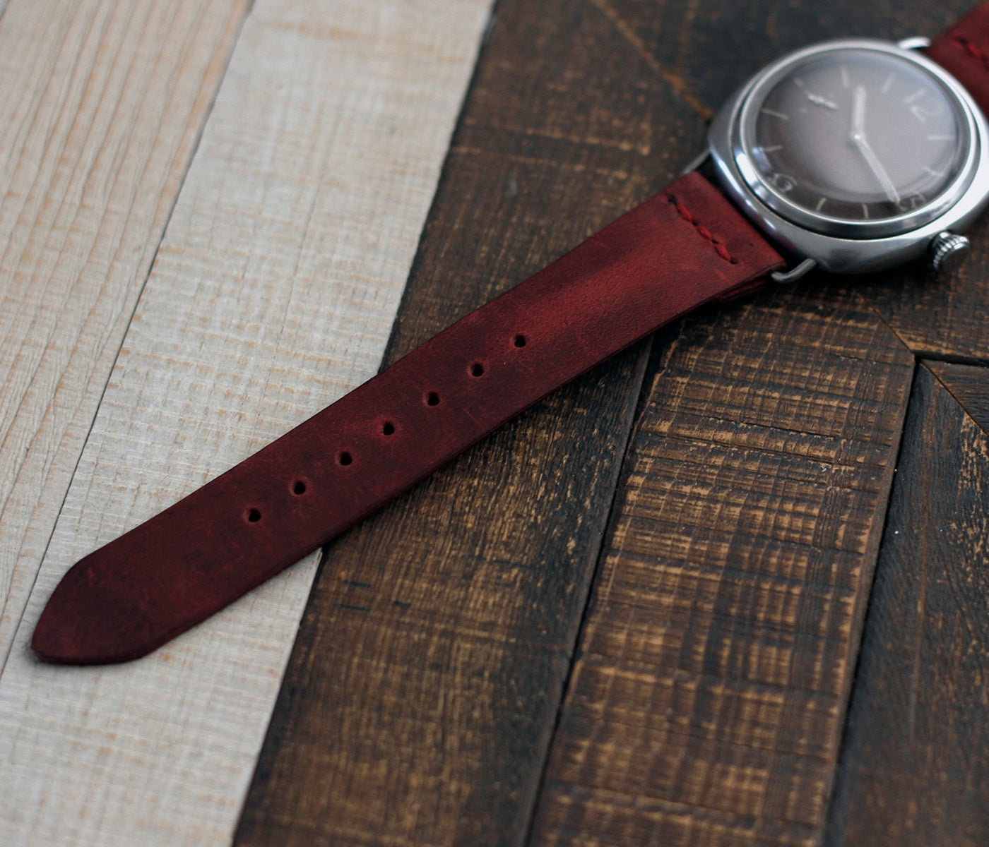 Leather Watch Strap - Antique Burgundy by Roarcraft