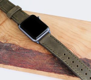 Custom Made Apple Watch Strap - Antique Green